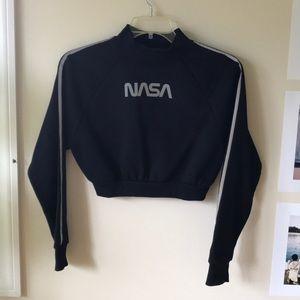 NASA black cropped sweatshirt